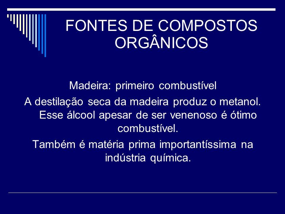 FONTES DE COMPOSTOS ORGÂNICOS Madeira: primeiro combustível A destilação seca da madeira produz o metanol. Esse álcool apesar de ser venenoso é ótimo