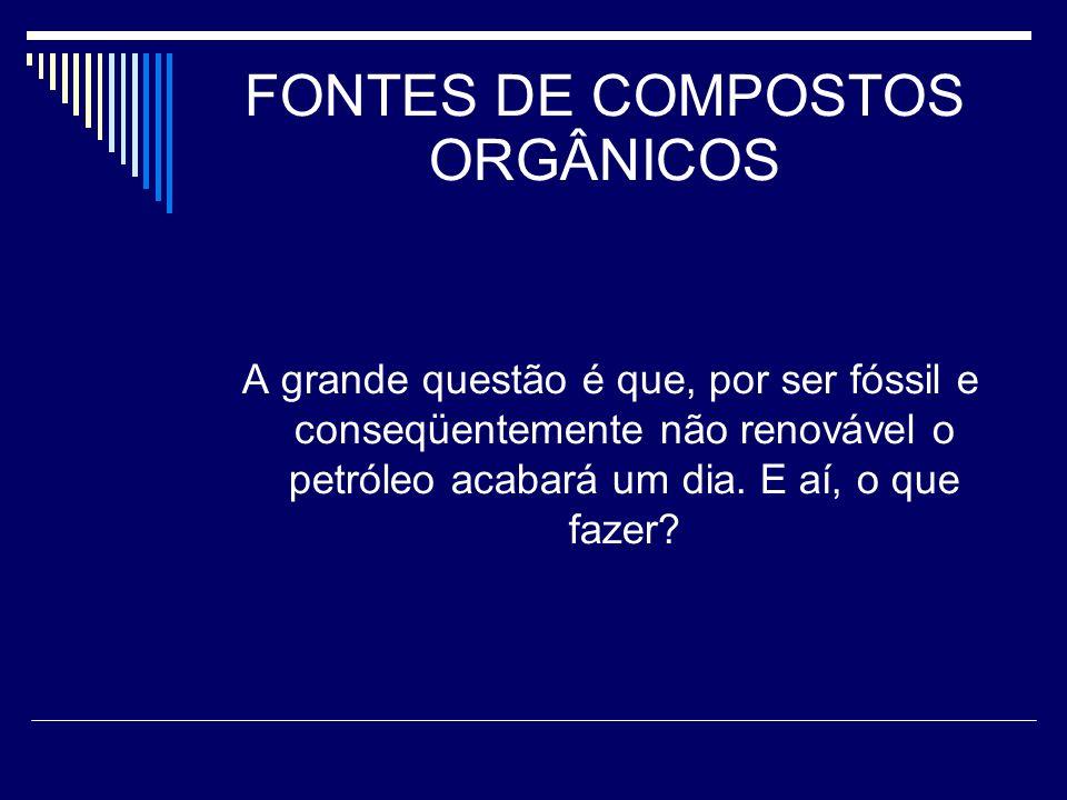 FONTES DE COMPOSTOS ORGÂNICOS Posteriormente à separação dos componentes na torre de fracionamento, outros processos de destilação e de purificação são aplicados, obtendo-se os chamados derivados diretos do petróleo.