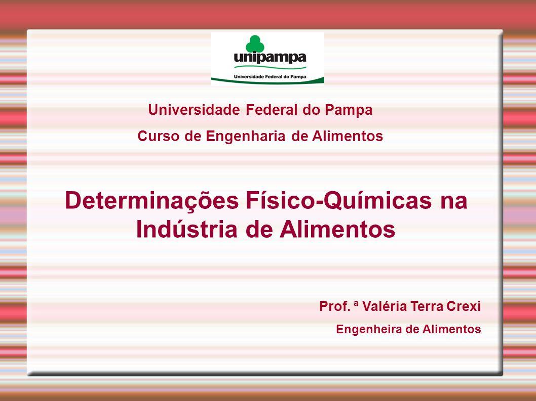 Universidade Federal do Pampa Curso de Engenharia de Alimentos Determinações Físico-Químicas na Indústria de Alimentos Prof. ª Valéria Terra Crexi Eng