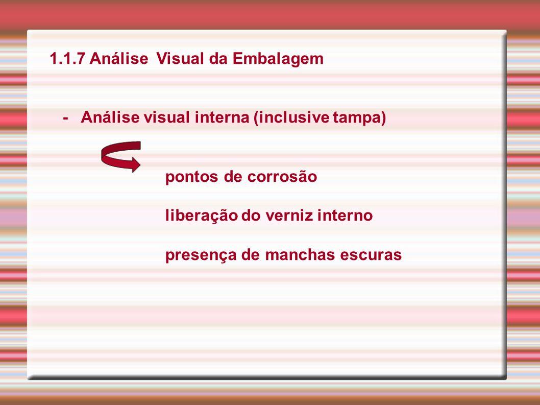 1.1.7 Análise Visual da Embalagem - Análise visual interna (inclusive tampa) pontos de corrosão liberação do verniz interno presença de manchas escura