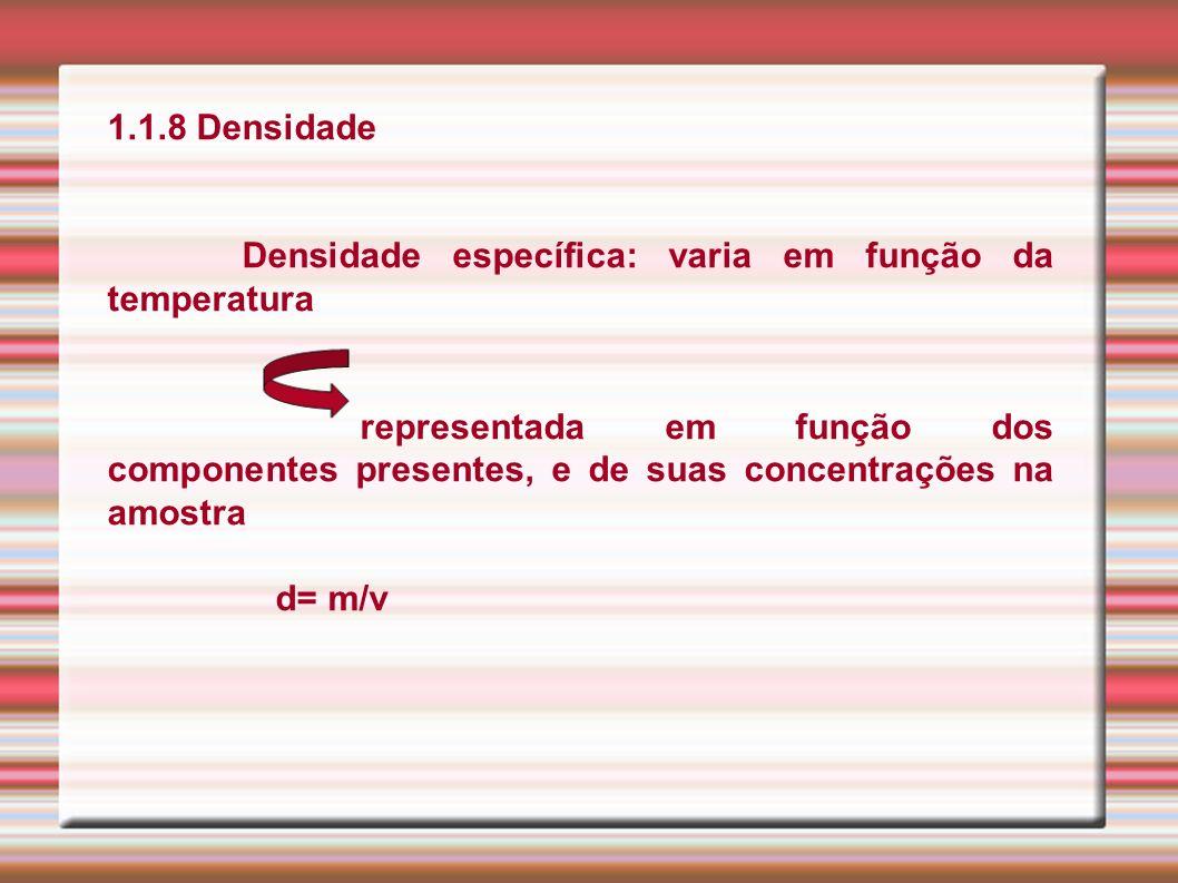 1.1.8 Densidade Densidade específica: varia em função da temperatura representada em função dos componentes presentes, e de suas concentrações na amos