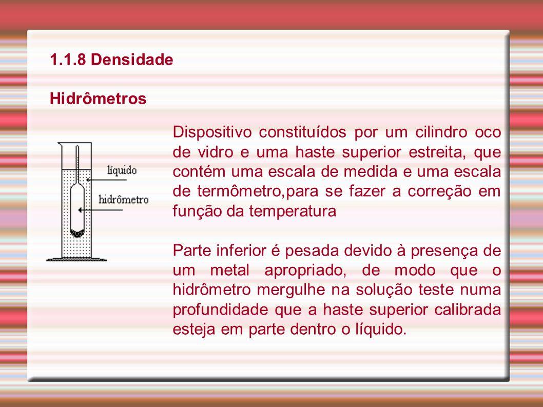 1.1.8 Densidade Hidrômetros Dispositivo constituídos por um cilindro oco de vidro e uma haste superior estreita, que contém uma escala de medida e uma