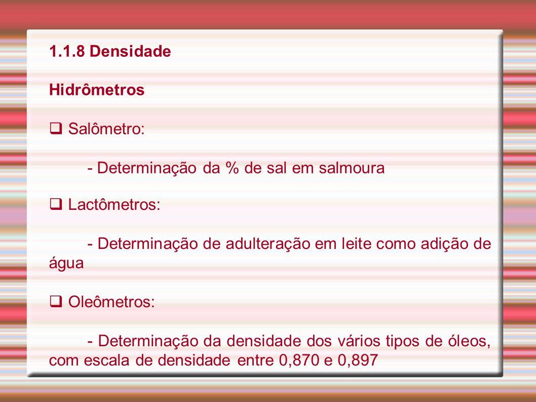 1.1.8 Densidade Hidrômetros Salômetro: - Determinação da % de sal em salmoura Lactômetros: - Determinação de adulteração em leite como adição de água