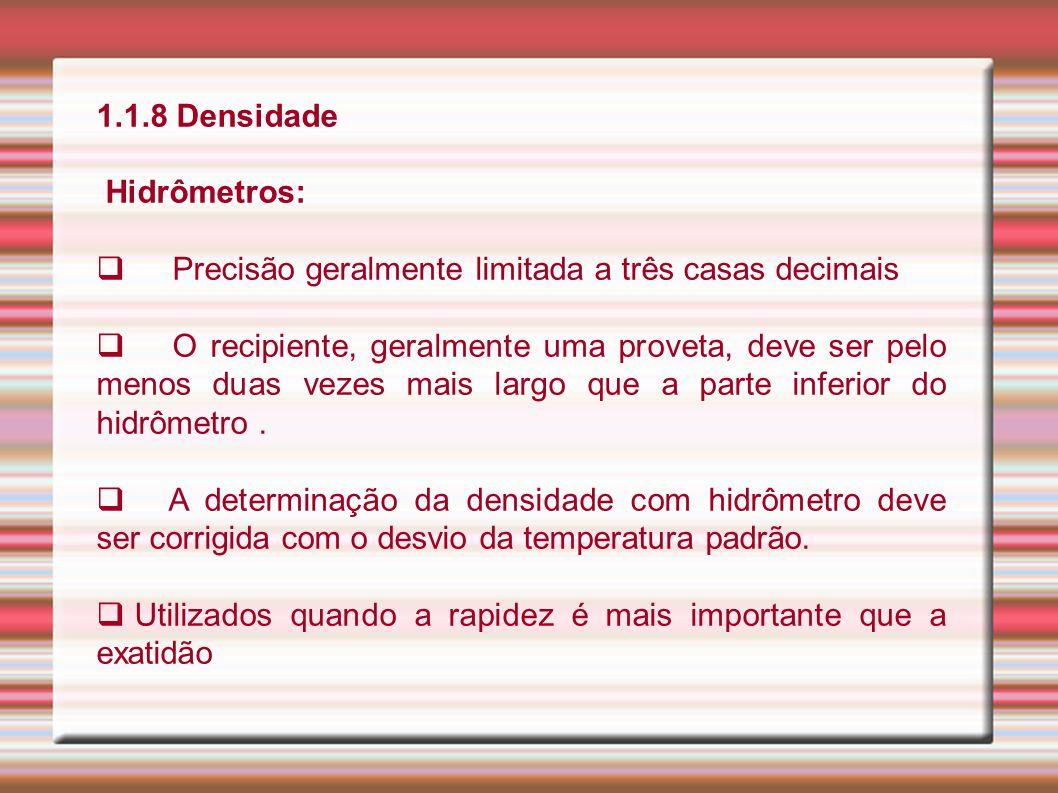 1.1.8 Densidade Hidrômetros: Precisão geralmente limitada a três casas decimais O recipiente, geralmente uma proveta, deve ser pelo menos duas vezes m