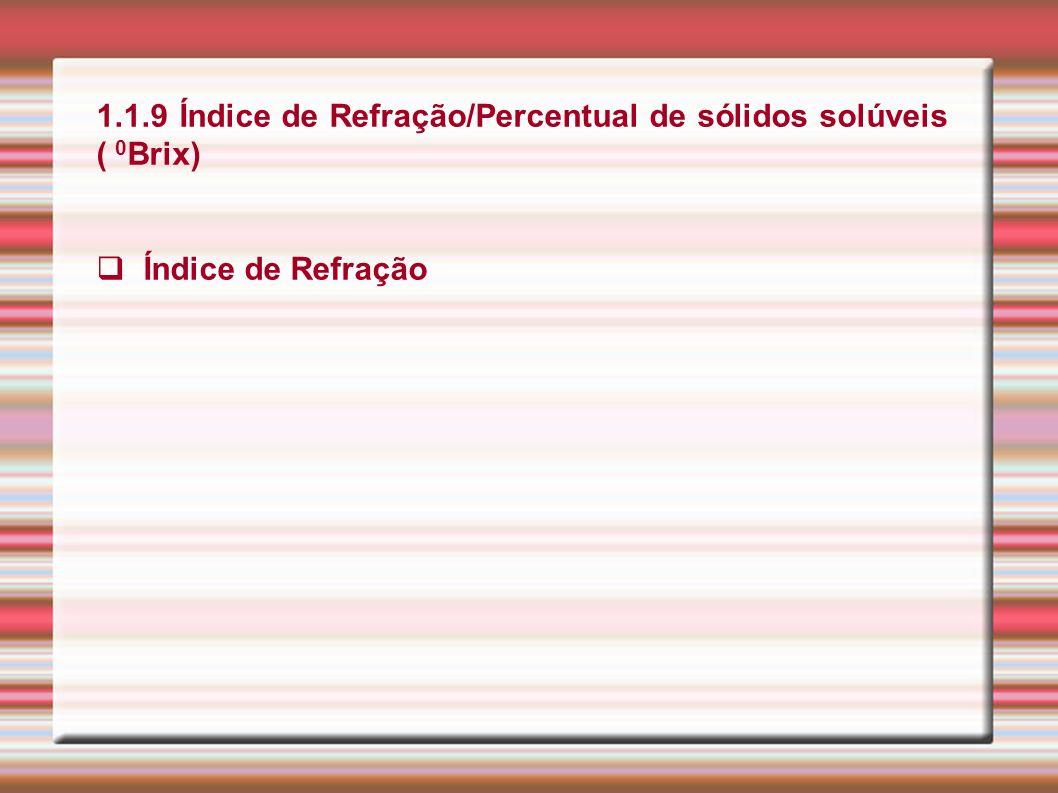 1.1.9 Índice de Refração/Percentual de sólidos solúveis ( 0 Brix) Índice de Refração
