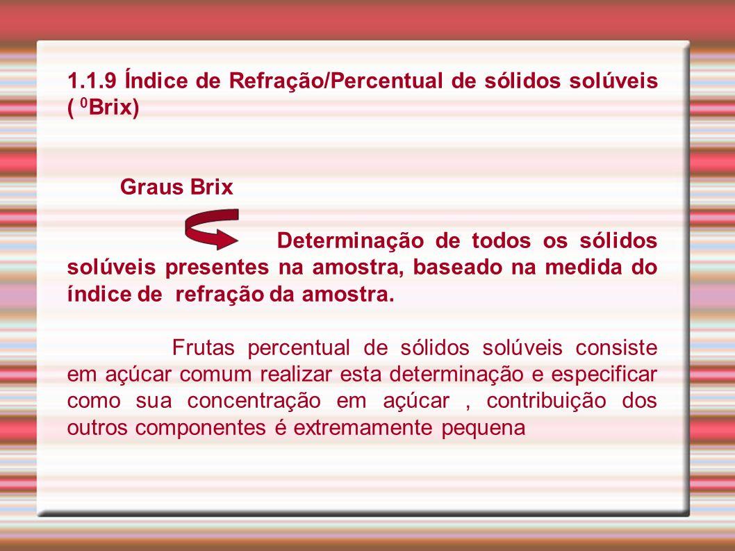 1.1.9 Índice de Refração/Percentual de sólidos solúveis ( 0 Brix) Graus Brix Determinação de todos os sólidos solúveis presentes na amostra, baseado n