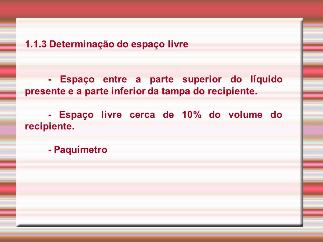 1.1.3 Determinação do espaço livre - Espaço entre a parte superior do líquido presente e a parte inferior da tampa do recipiente. - Espaço livre cerca