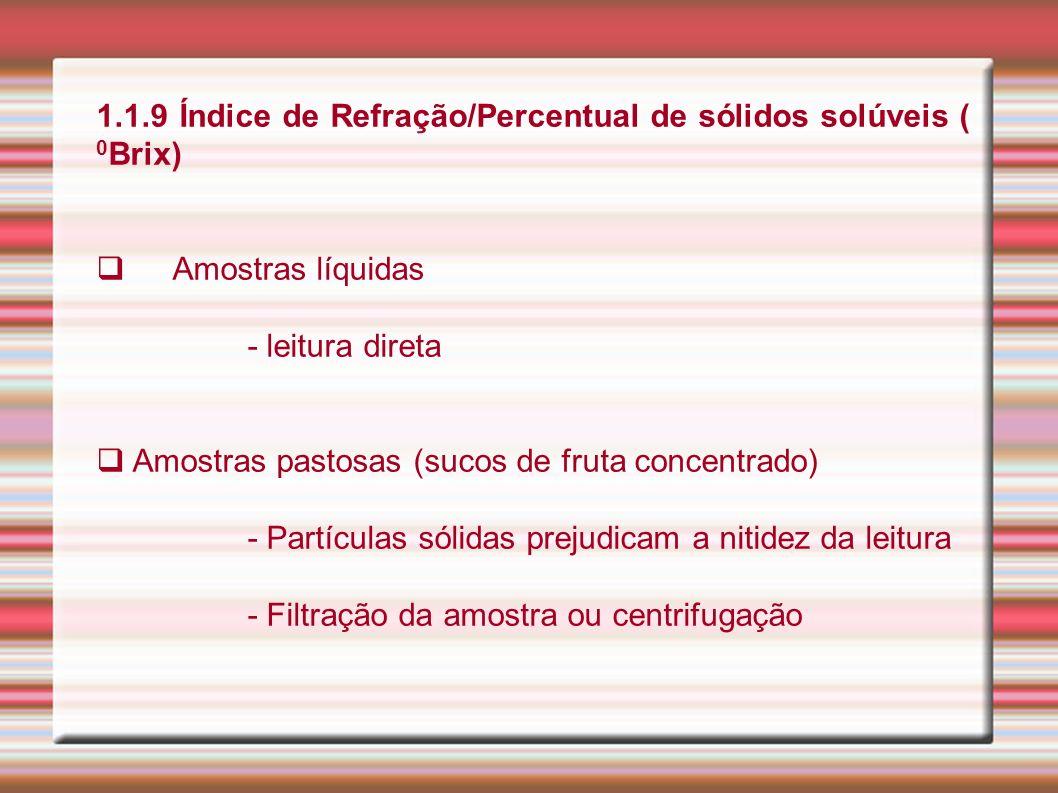 1.1.9 Índice de Refração/Percentual de sólidos solúveis ( 0 Brix) Amostras líquidas - leitura direta Amostras pastosas (sucos de fruta concentrado) -