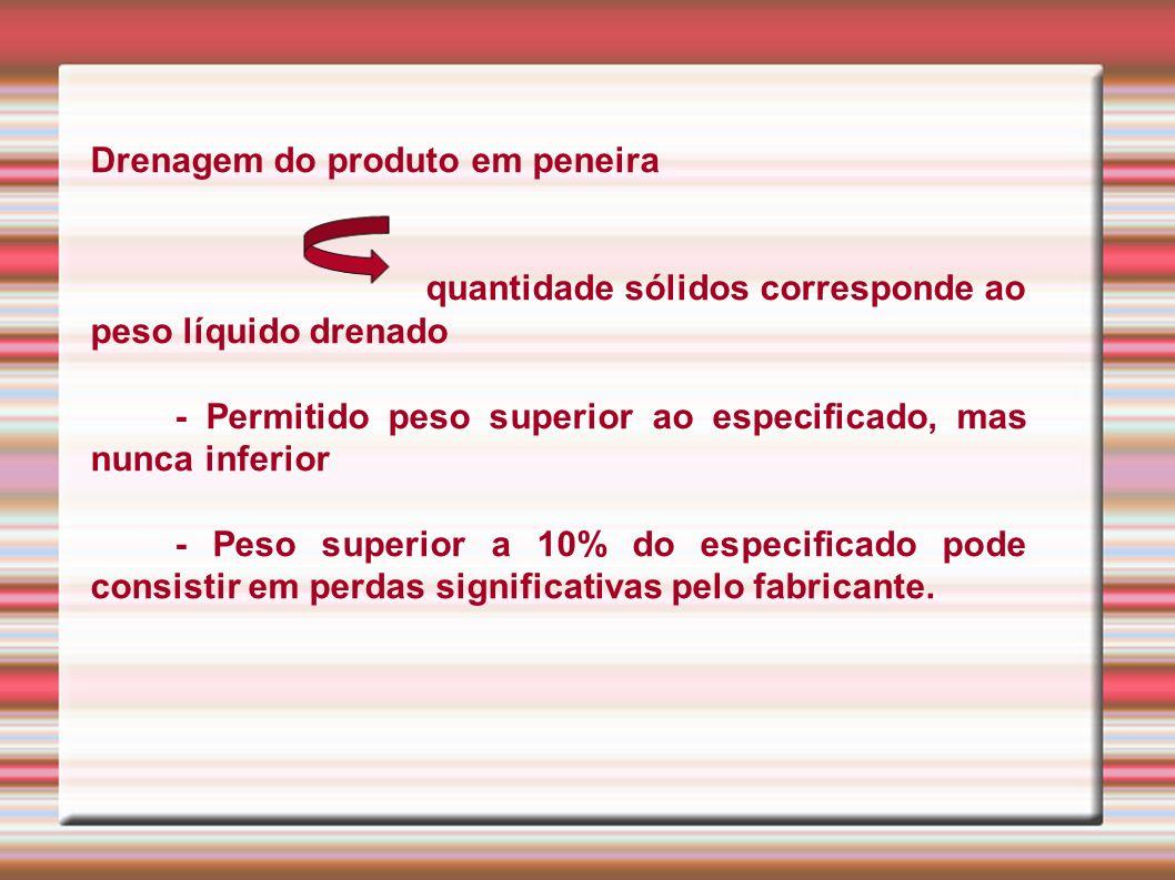 1.1.5 Volume da Fase Aquosa - Padrão de qualidade do produto Medido em proveta * Total de peso drenado + peso do volume aquoso = peso líquido do produto