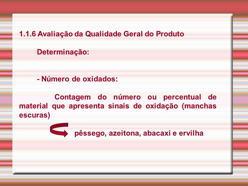 1.1.6 Avaliação da Qualidade Geral do Produto Determinação: - Número de oxidados: Contagem do número ou percentual de material que apresenta sinais de
