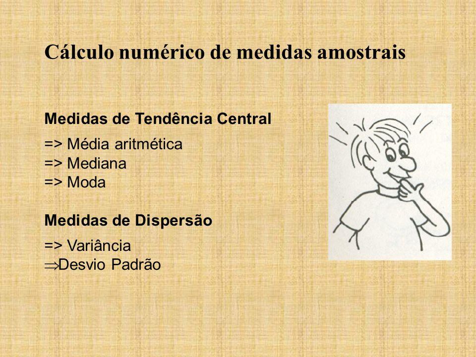 Cálculo numérico de medidas amostrais Medidas de Tendência Central => Média aritmética => Mediana => Moda Medidas de Dispersão => Variância Desvio Pad