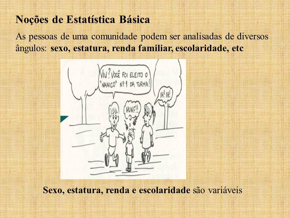 Noções de Estatística Básica As pessoas de uma comunidade podem ser analisadas de diversos ângulos: sexo, estatura, renda familiar, escolaridade, etc