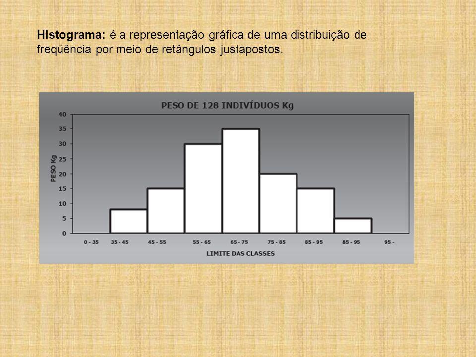 Histograma: é a representação gráfica de uma distribuição de freqüência por meio de retângulos justapostos.