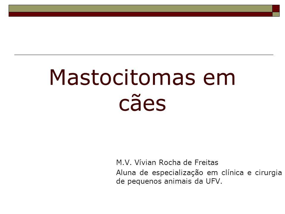 Mastocitomas em cães M.V. Vívian Rocha de Freitas Aluna de especialização em clínica e cirurgia de pequenos animais da UFV.