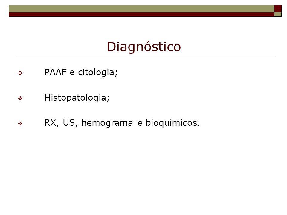 Diagnóstico PAAF e citologia; Histopatologia; RX, US, hemograma e bioquímicos.