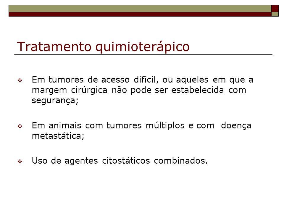 Tratamento quimioterápico Em tumores de acesso difícil, ou aqueles em que a margem cirúrgica não pode ser estabelecida com segurança; Em animais com t
