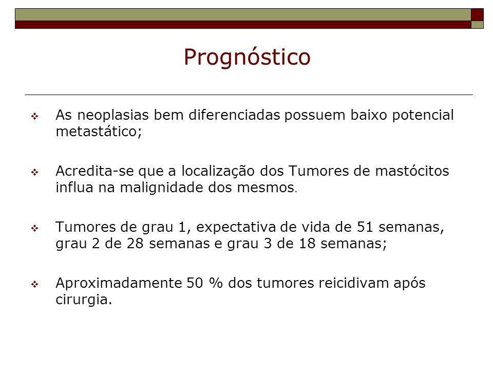 Prognóstico As neoplasias bem diferenciadas possuem baixo potencial metastático; Acredita-se que a localização dos Tumores de mastócitos influa na mal