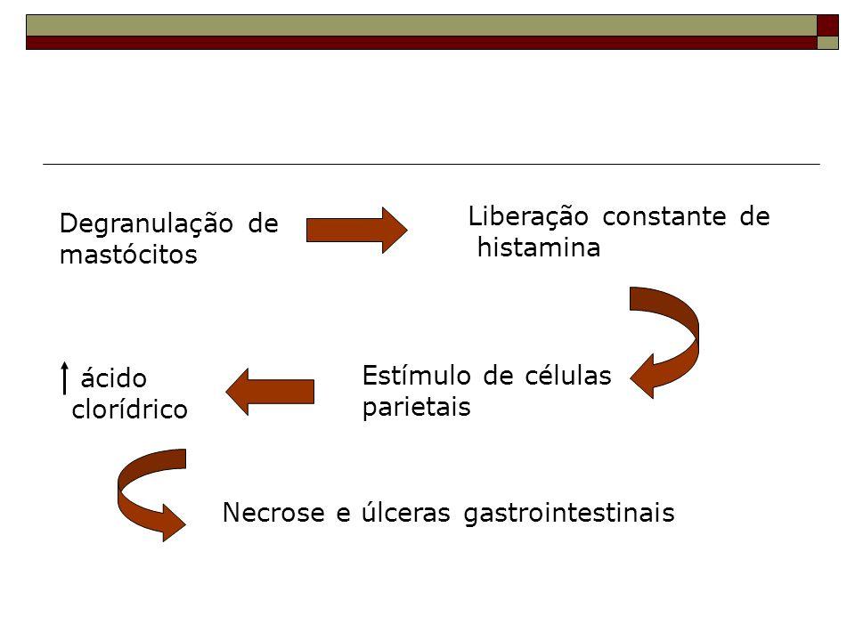 Liberação constante de histamina Degranulação de mastócitos Estímulo de células parietais ácido clorídrico Necrose e úlceras gastrointestinais