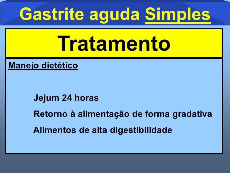 Manejo dietético Jejum 24 horas Retorno à alimentação de forma gradativa Alimentos de alta digestibilidade Gastrite aguda Simples Tratamento