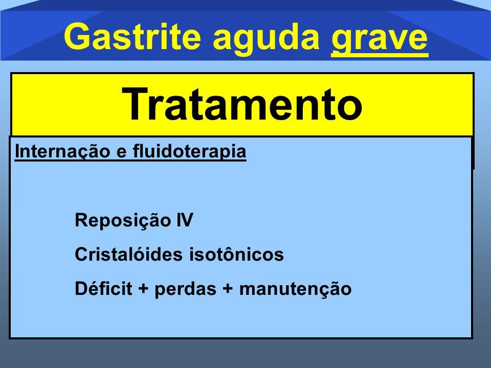 Gastrite aguda grave Tratamento Internação e fluidoterapia Reposição IV Cristalóides isotônicos Déficit + perdas + manutenção