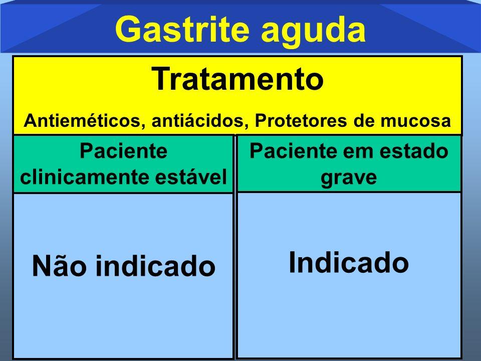 Gastrite aguda Tratamento Antieméticos, antiácidos, Protetores de mucosa Paciente em estado grave Não indicado Paciente clinicamente estável Indicado