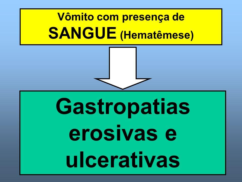 Vômito com presença de SANGUE (Hematêmese) Gastropatias erosivas e ulcerativas