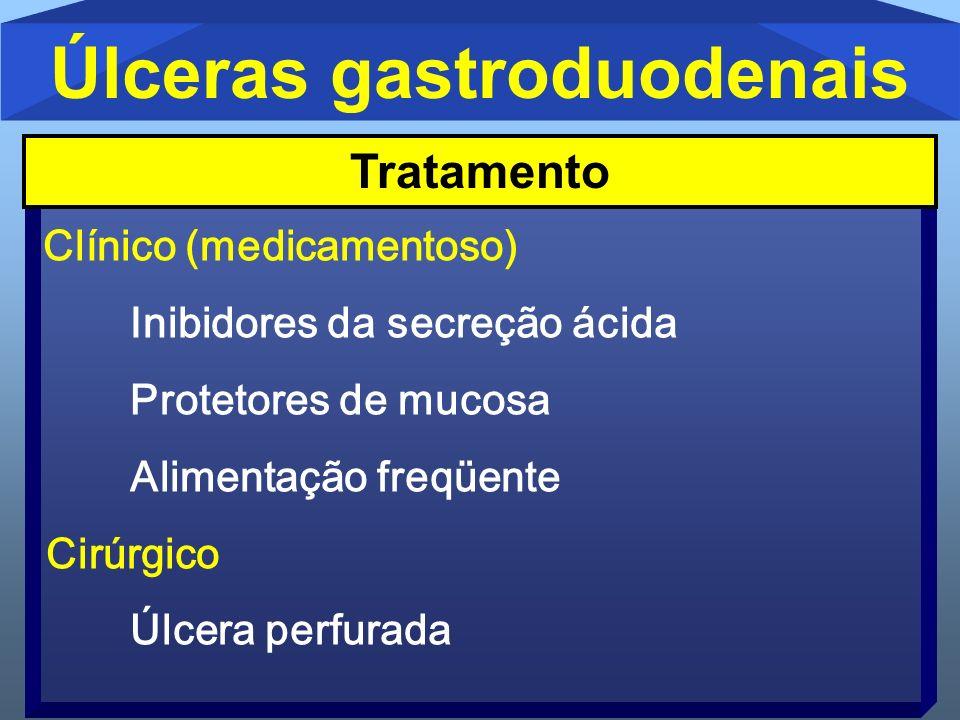 Úlceras gastroduodenais Clínico (medicamentoso) Inibidores da secreção ácida Protetores de mucosa Alimentação freqüente Cirúrgico Úlcera perfurada Tra