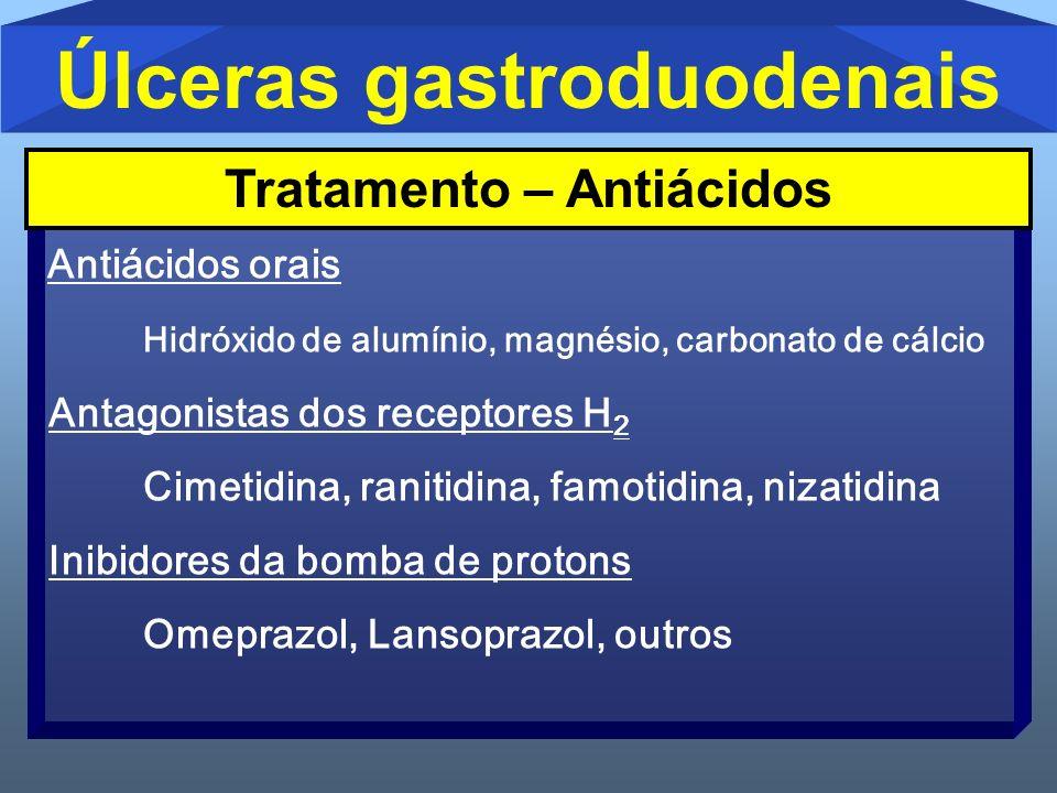 Úlceras gastroduodenais Antiácidos orais Hidróxido de alumínio, magnésio, carbonato de cálcio Antagonistas dos receptores H 2 Cimetidina, ranitidina,