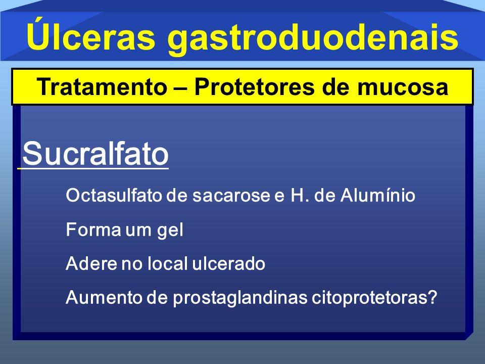 Úlceras gastroduodenais Sucralfato Octasulfato de sacarose e H. de Alumínio Forma um gel Adere no local ulcerado Aumento de prostaglandinas citoprotet