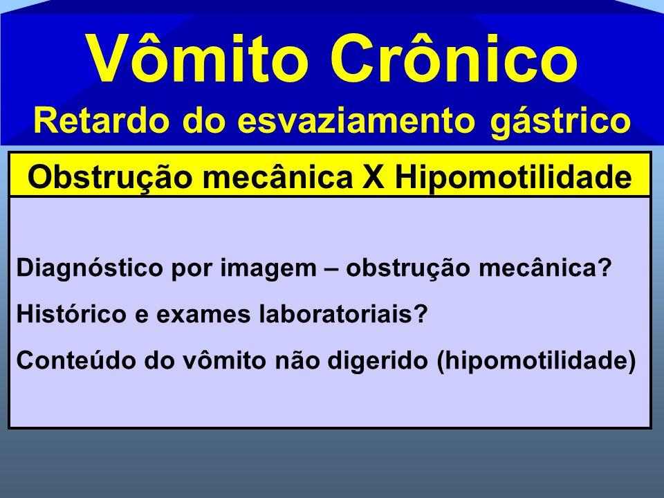 Vômito Crônico Retardo do esvaziamento gástrico Obstrução mecânica X Hipomotilidade Diagnóstico por imagem – obstrução mecânica? Histórico e exames la