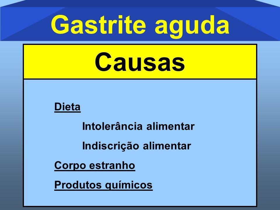 Gastrite aguda Dieta Intolerância alimentar Indiscrição alimentar Corpo estranho Produtos químicos Causas