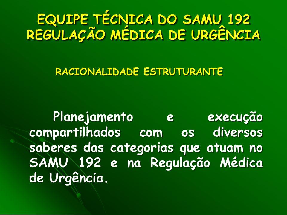 EQUIPE TÉCNICA DO SAMU 192 REGULAÇÃO MÉDICA DE URGÊNCIA EQUIPE TÉCNICA DO SAMU 192 REGULAÇÃO MÉDICA DE URGÊNCIA Planejamento e execução compartilhados com os diversos saberes das categorias que atuam no SAMU 192 e na Regulação Médica de Urgência.