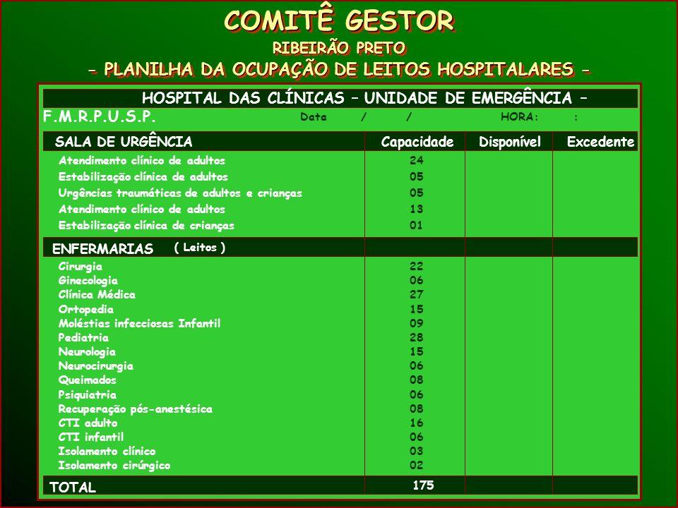 COMITÊ GESTOR RIBEIRÃO PRETO - PLANILHA DA OCUPAÇÃO DE LEITOS HOSPITALARES - COMITÊ GESTOR RIBEIRÃO PRETO - PLANILHA DA OCUPAÇÃO DE LEITOS HOSPITALARES - HOSPITAL DAS CLÍNICAS – UNIDADE DE EMERGÊNCIA – F.M.R.P.U.S.P.