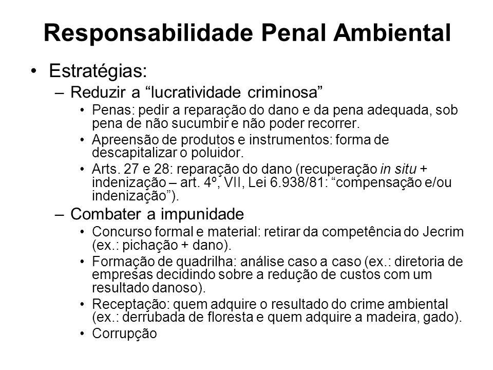 Responsabilidade Penal Ambiental Estratégias: –Reduzir a lucratividade criminosa Penas: pedir a reparação do dano e da pena adequada, sob pena de não