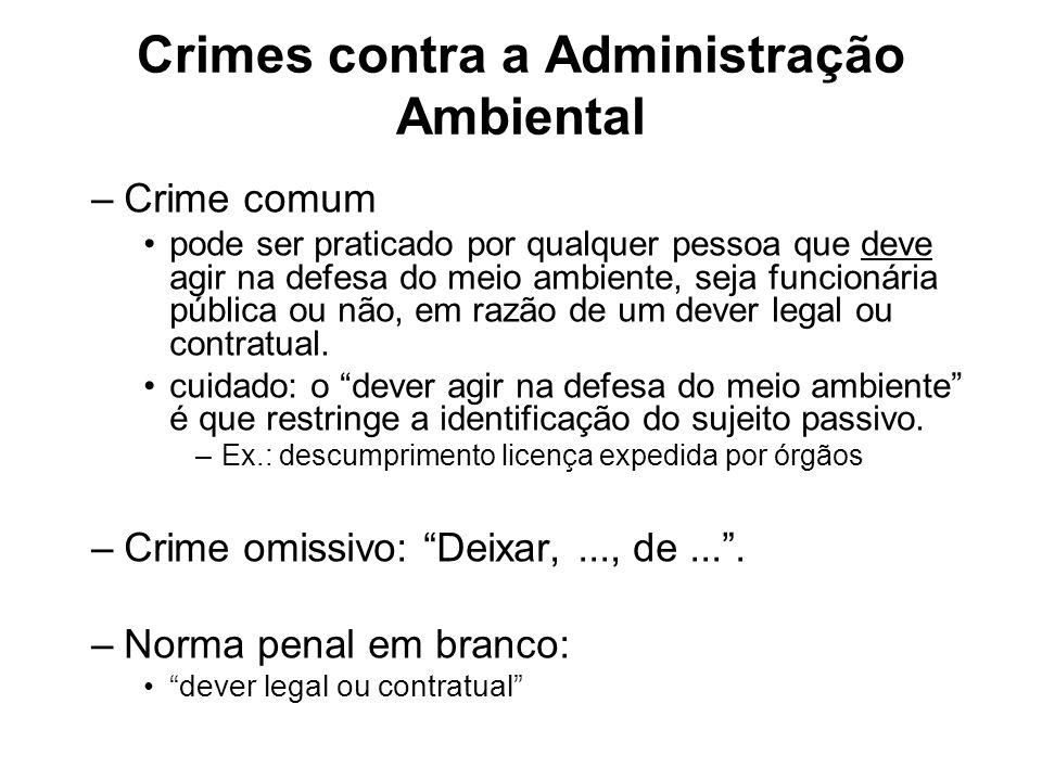 Crimes contra a Administração Ambiental –Crime comum pode ser praticado por qualquer pessoa que deve agir na defesa do meio ambiente, seja funcionária