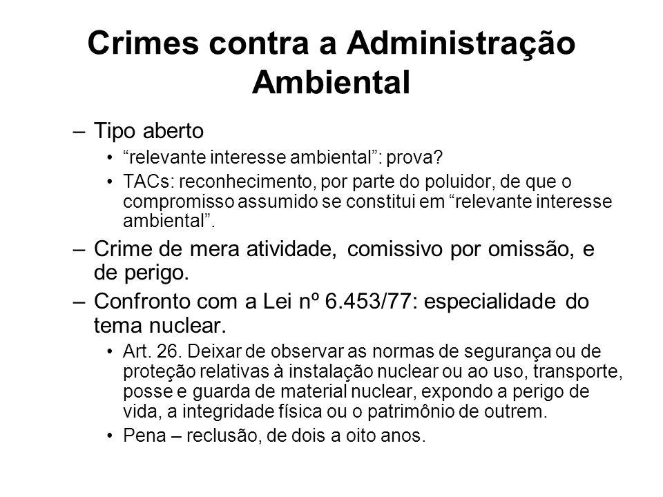 Crimes contra a Administração Ambiental –Tipo aberto relevante interesse ambiental: prova? TACs: reconhecimento, por parte do poluidor, de que o compr