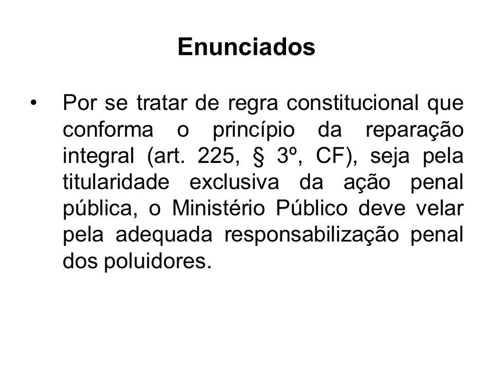 Enunciados Por se tratar de regra constitucional que conforma o princípio da reparação integral (art. 225, § 3º, CF), seja pela titularidade exclusiva