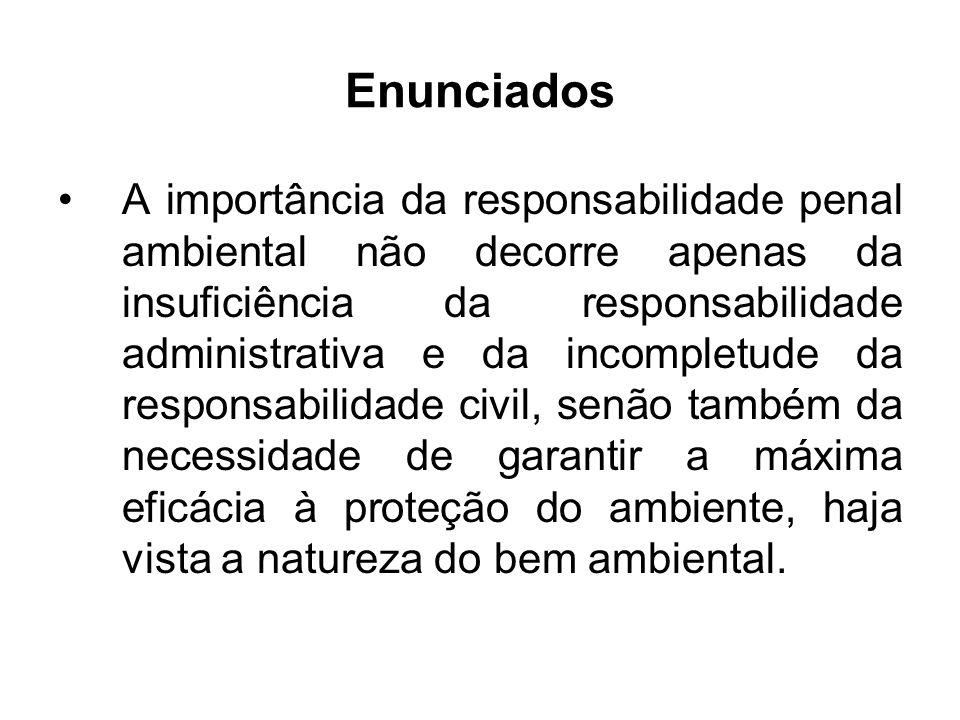 Enunciados A importância da responsabilidade penal ambiental não decorre apenas da insuficiência da responsabilidade administrativa e da incompletude