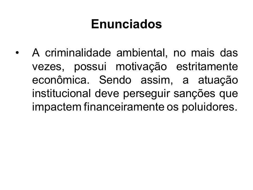 Enunciados A criminalidade ambiental, no mais das vezes, possui motivação estritamente econômica. Sendo assim, a atuação institucional deve perseguir