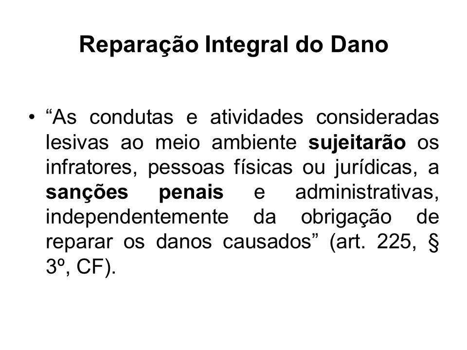 Reparação Integral do Dano As condutas e atividades consideradas lesivas ao meio ambiente sujeitarão os infratores, pessoas físicas ou jurídicas, a sa