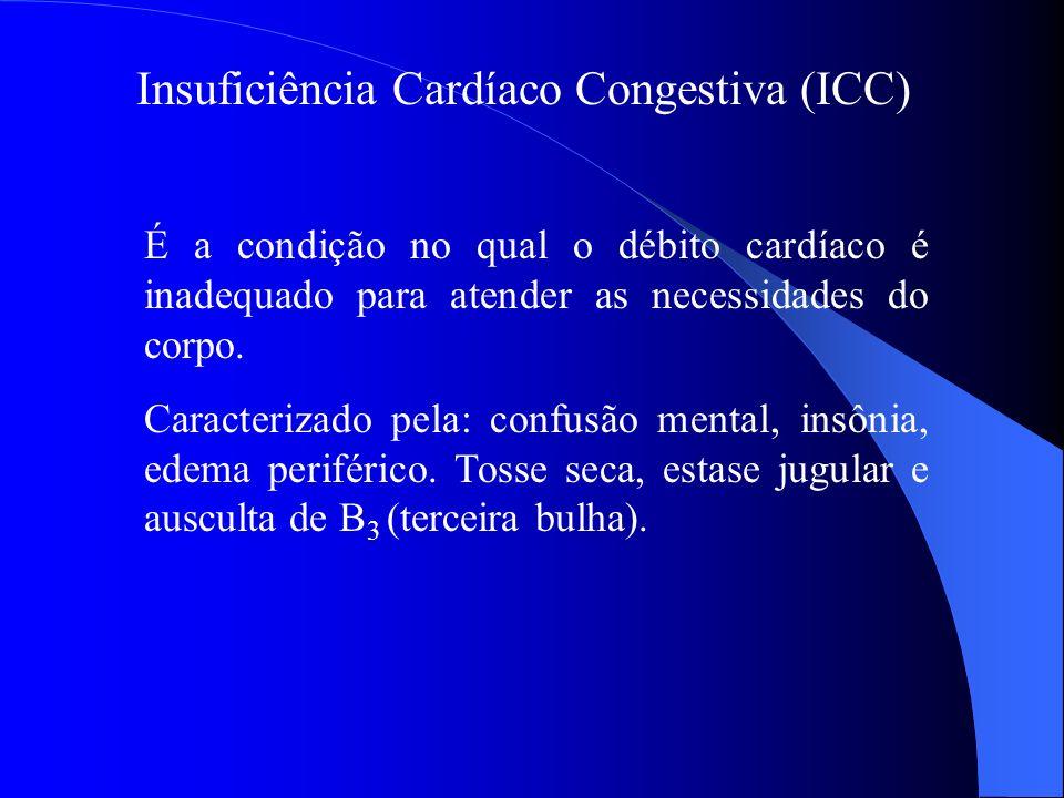 Insuficiência Cardíaco Congestiva (ICC) É a condição no qual o débito cardíaco é inadequado para atender as necessidades do corpo. Caracterizado pela: