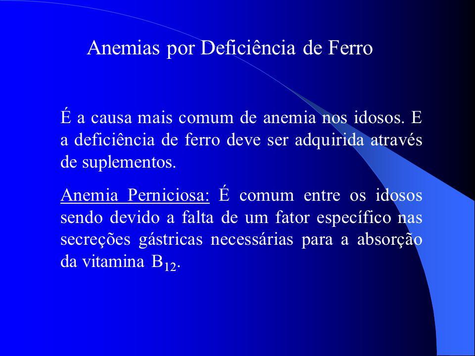 Anemias por Deficiência de Ferro É a causa mais comum de anemia nos idosos. E a deficiência de ferro deve ser adquirida através de suplementos. Anemia