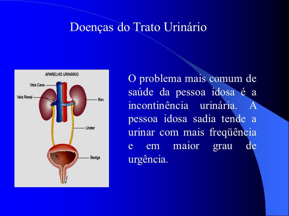 Doenças do Trato Urinário O problema mais comum de saúde da pessoa idosa é a incontinência urinária. A pessoa idosa sadia tende a urinar com mais freq