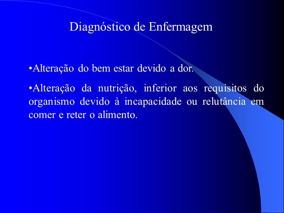 Diagnóstico de Enfermagem Alteração do bem estar devido a dor. Alteração da nutrição, inferior aos requisitos do organismo devido à incapacidade ou re