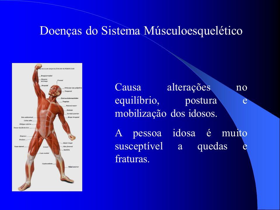 Doenças do Sistema Músculoesquelético Causa alterações no equilíbrio, postura e mobilização dos idosos. A pessoa idosa é muito susceptível a quedas e