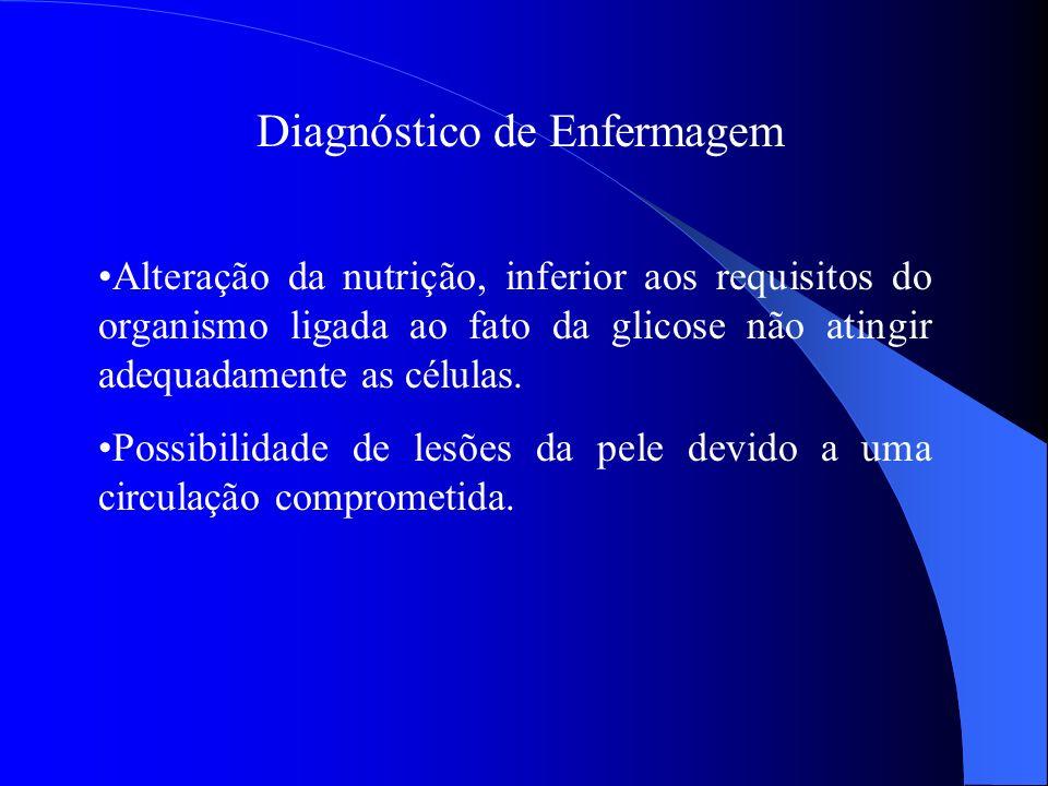 Diagnóstico de Enfermagem Alteração da nutrição, inferior aos requisitos do organismo ligada ao fato da glicose não atingir adequadamente as células.