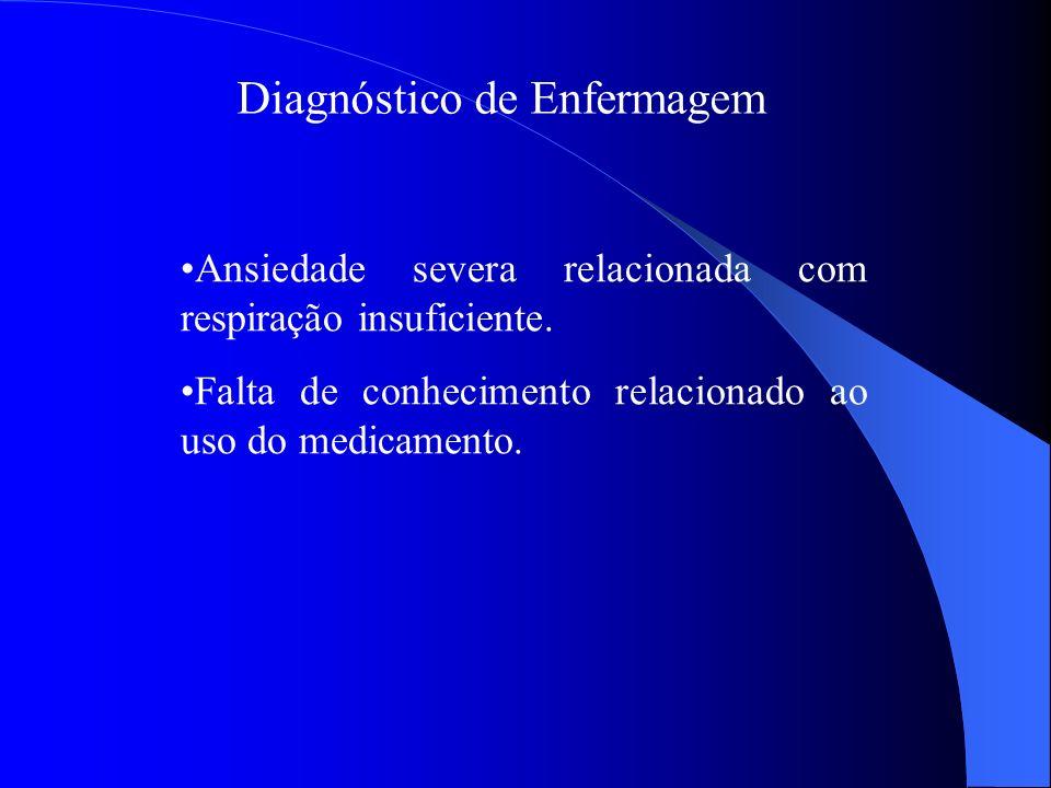 Diagnóstico de Enfermagem Ansiedade severa relacionada com respiração insuficiente. Falta de conhecimento relacionado ao uso do medicamento.