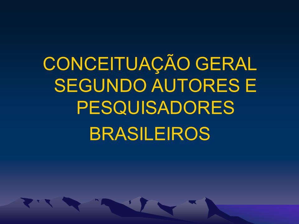 CONCEITUAÇÃO GERAL SEGUNDO AUTORES E PESQUISADORES BRASILEIROS