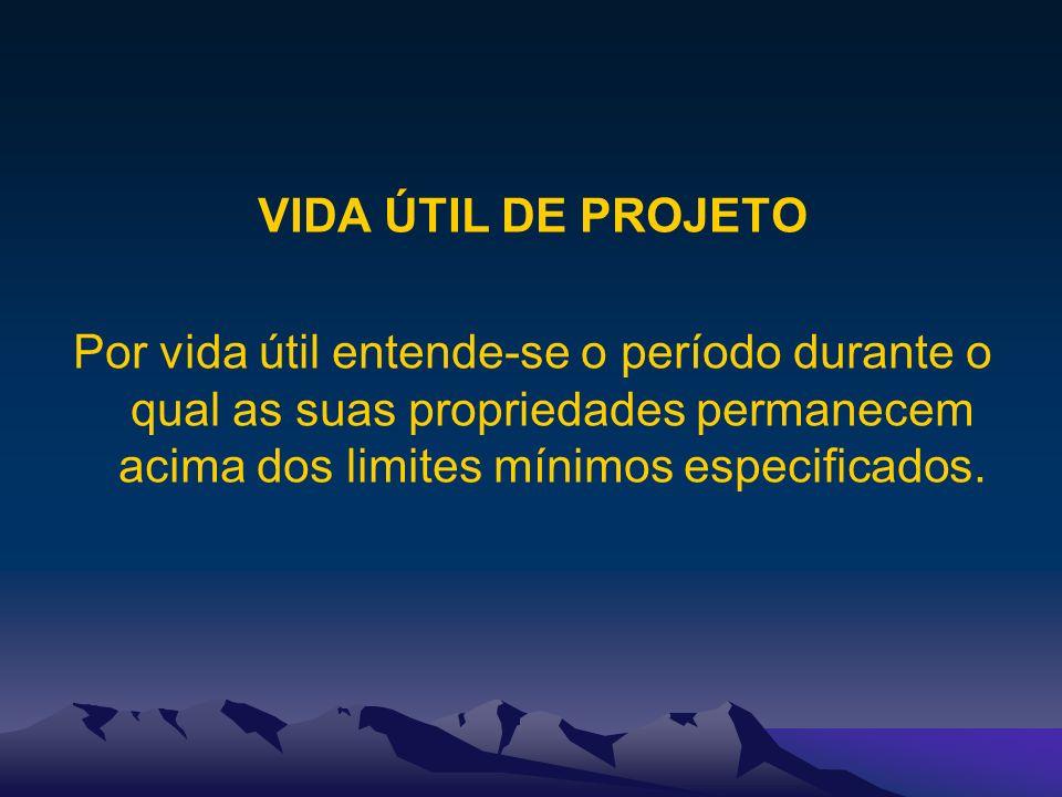 VIDA ÚTIL DE PROJETO Por vida útil entende-se o período durante o qual as suas propriedades permanecem acima dos limites mínimos especificados.