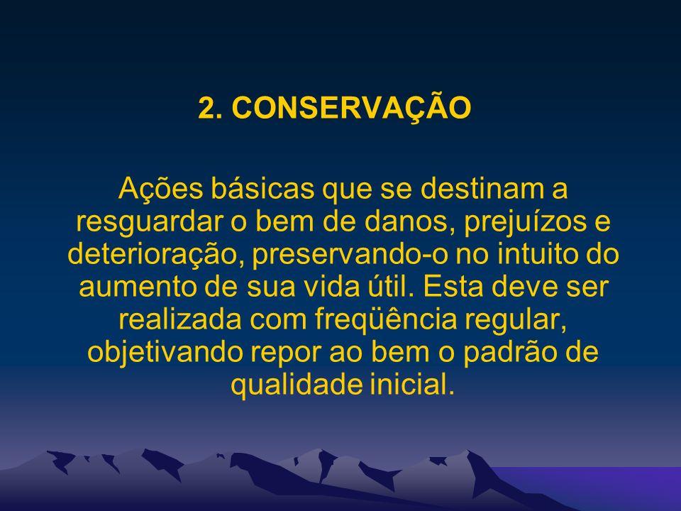 2. CONSERVAÇÃO Ações básicas que se destinam a resguardar o bem de danos, prejuízos e deterioração, preservando-o no intuito do aumento de sua vida út